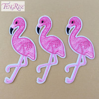 FENGRISE 10PCS Pink Flamingo Bird Animal Embroidered Patch Iron On Patches Applique Sewing Fabric Badge Stickers Accessories