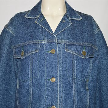 80s Lee Acid Wash Womens Trucker Baggy Denim Jacket Small