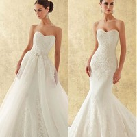 [266.99] Charming Organza Sweetheart Neckline 2 In 1 Wedding Dress With Beaded Sequins Lace Appliques - dressilyme.com