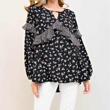 Floral Print A-Line Top with Cutout Neckline