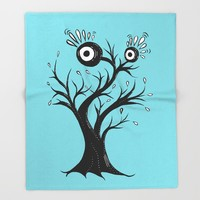 Excited Tree Monster Ink Drawing Throw Blanket by borianagiormova