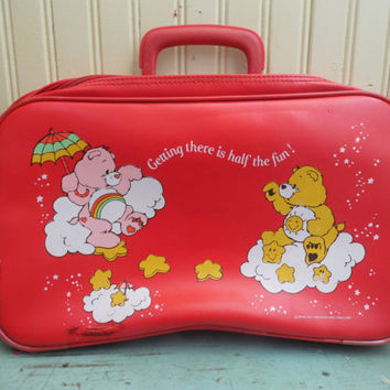 FREE SHIPPING - Care Bear Suitcase/Vintage Care Bears/Vintage Suitcase/Child's Suitcase/Red Suitcase/Small Suitcase