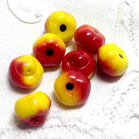 Apple Beads or Buttons - 8 Bright Red and Yellow Glass Fruit Realistic - Sewing, Jewelry or Crafting Supply - Autumn Fall Decor Kitsch Chic