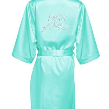 Rhinestone Maid of Honor Satin Robe - Davids Bridal