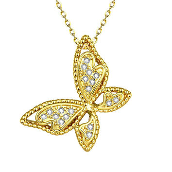 Gold Plated Large Butterfly Necklace