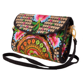 Women Vintage Satchel Handbag Ethnic Floral Shoulder Messenger Bags Retro Style