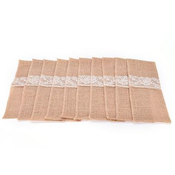 24*10cm 10pcs Vintage Shabby Chic Jute Burlap Lace Tableware Pouch Packaging Fork & Knife Burlap Holder Cutlery Pocket