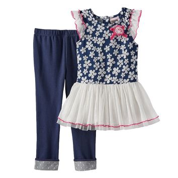 Little Lass Floral Tunic & Leggings Set - Girls