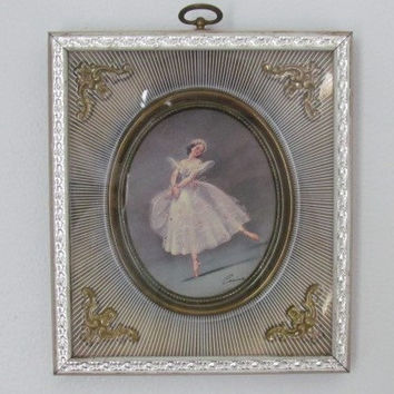 Ballerina Wall Art  Vintage Carina Ballerina Shadow Box Framed Art