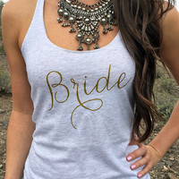 Gold Bride Tank Top. Gold Bridal Tank Tops. Gold Wedding Clothing. Gold Bride Tshirt. Bridal Shower Gift. Gift For Bride. Wedding Day Tank.