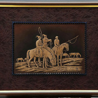 horse,wall hanging,3D leather handmade,43x35, timing wild horse,leather art, leather wall hanging, lightning, classik brown, central asian