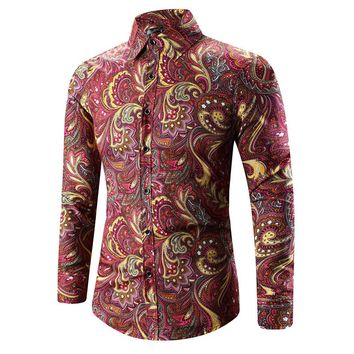 2017 Retro Floral Printed Man Casual Shirts Fashion Classic Men Dress Shirt Breathable Men's Long Sleeve Brand Clothing