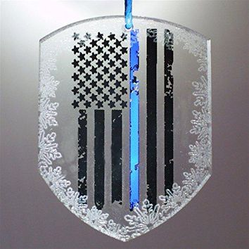 Limited Edition Shield Shape American Thin Blue Line Flag Collectors Shield Crystal Ornament