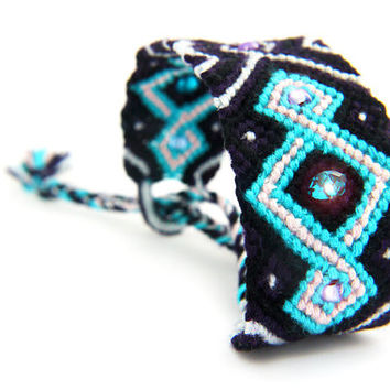 Purple and Turquoise Beaded Friendship Bracelet Cuff - hippie boho gift for best friend or teenager - great stocking stuffer