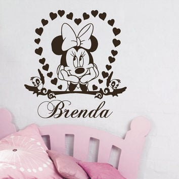 Wall Decal Vinyl Sticker Minnie Mouse Personalized Name Girl Nursery Decor SM79