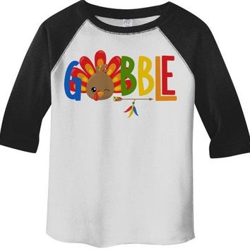Kids Gobble T Shirt Turkey Shirts Gobble Tee Arrow Feathers Cute Thanksgiving TShirt Boy's Girl's Toddler 3/4 Sleeve Raglan