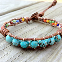 Southwestern turquoise leather wrap bracelet by DESIGNbyANCE