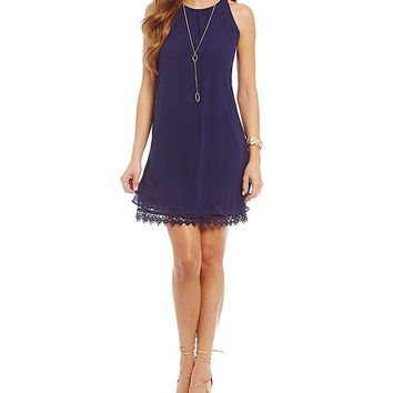 I.N. San Francisco Crochet Trim Shift Dress | Dillards