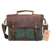 S-ZONE Fashion Canvas Genuine Leather Trim Travel Briefcase Laptop Bag