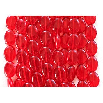 25 transparent siam red flat oval Czech Glass beads, 12mm x 9mm pressed glass beads C9425