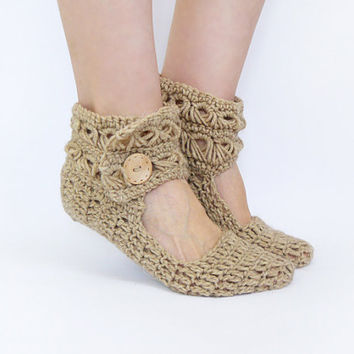 Women Leg Warmers In Beige, Crochet Slippers From Alpaca Wool