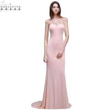 Vestido de Festa Longo Sexy Sheer Back Pink Lace Beaded Mermaid Prom Dresses Long 2017 Elegant Evening Party Dress with Flowers