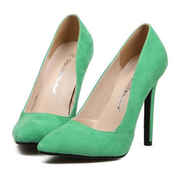 Pointed Thin High Heel Night Club Candy's Color Thin Shoes   green