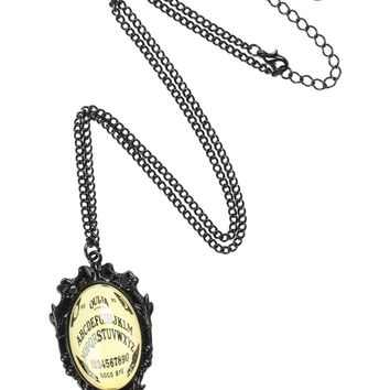 """Licensed cool Ouija Board Cameo Bubble Pendant Necklace Yes No Goodbye 18"""" Black Chain NEW"""