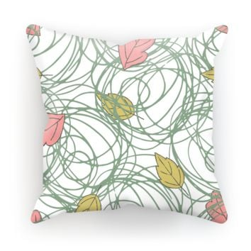 Color Leaves Theme White Base Throw Pillow