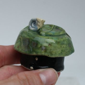 Garden Snail Trinket Box Miniature ring box hand made ceramic jewelry holder