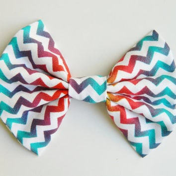 Rainbow Chevron Hairbow, Large Hairbow, Chignon Hairbow, Hairbow great for a bun, Alligator clip or barrette