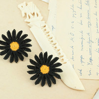 Daisy Post Earrings - Crochet Lace Flower - Black and Yellow - Black Lace Daisy - Boho Chic - Lightweight - Fiber Art Jewelry