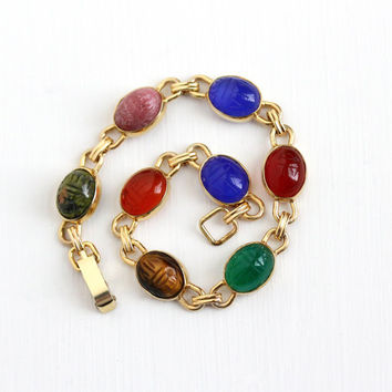 Vintage 14k Yellow Gold Overlay Scarab Bracelet - Retro Carved Beetle Bugs Colorful Unakite Tiger's Eye Egyptian Revival Krementz Jewelry