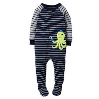 Baby Boy Carter's Striped Animal Applique Footed Pajamas