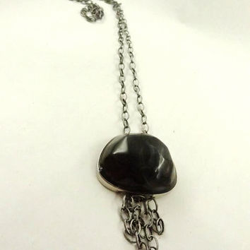 Black Pendant  Necklace Antique Silver Toned Necklace