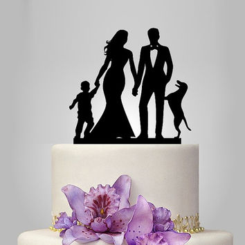 wedding cake topper with dog and little boy, family wedding cake topper, bride and groom silhouette cake topper, rustic cake topper, country