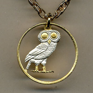 Beautifully Cut out & 2-toned Greek Owl - coin Necklace