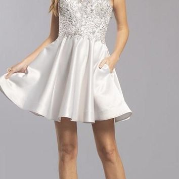 Illusion Bodice Silver Homecoming Short Dress with Pockets