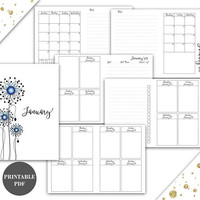 Passport Size Travelers Notebook TN Inserts Printable January 2018 Week on 2 Pages Vertical Instant Download Printable (pj1