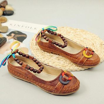 Large Size Bead Retro Stitching Casual Flat Strappy Shoes