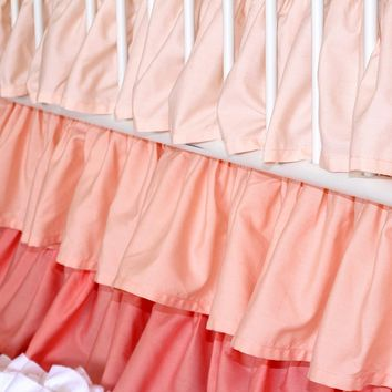 Peach to Coral 3 Tiered Ruffled Crib Skirt (Coral Gradient)