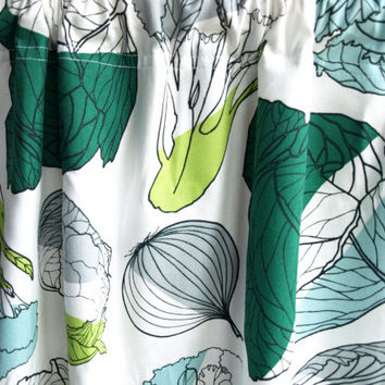 Curtain panel white green blue grey vegetables Botanical Decor Cafe curtain Kitchen valance , also runner , napkins available, great GIFT