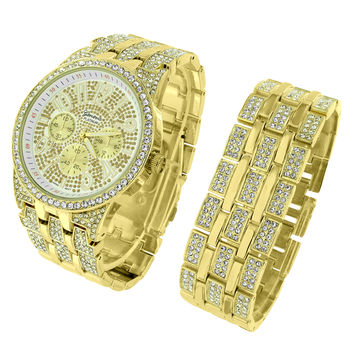 Watch Matching Bracelet Gift Set Full Iced Out Gold Tone Platinum Mens