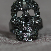 Goth Bling Gun Metal Fashion Fun Ring
