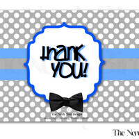 White Polka Dots Black Bow Tie Printable Baby Shower Thank You Card