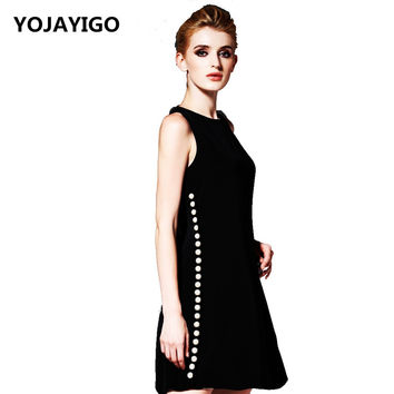 2016 Summer And Autumn New Pattern Women Dress,Fashion Beading Slim Sexy Tunic Bodycon Short Sundress,Black Casual Vestidos