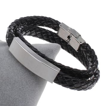 YYW Punk Men 2 Rows Multilayer Black Coffee PU Leather Cord Bracelets Jewelry Stainless Steel ID Charm Wrap Bangles Bracelets