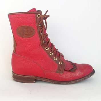 80s Shoes Leather 80s Boots Leather Boots Justin Boots Western Boots Red Western Boots Red Justin Boots Red Lace Up Boots Womens Size 8 1/2