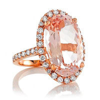 14kt White Rare Oval Shape 18x11 9.69ct Peach-Pink Halo Solitaire Morganite and FSI1Diamond Wedding Ring Engagement Ring Anniversary Ring