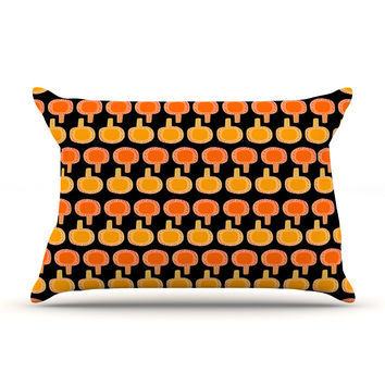 "Jane Smith ""Vintage Mushroom"" Orange Black Pillow Sham"